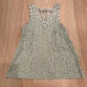 Express Mint Green Lace Studded Tank Top